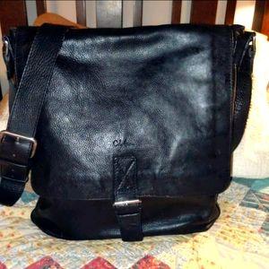 Men's unisex Cole Haan leather messenger bag